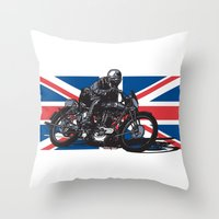 cafe racer Throw Pillows featuring Norton TT Racer by Ernie Young