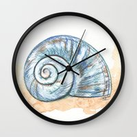 shell Wall Clocks featuring Shell by Pendientera
