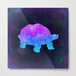 TORTOISE IN SPACE // Animal Graphic Art // Watercolor Canvas Painting // Modern Minimal Cute Metal Print