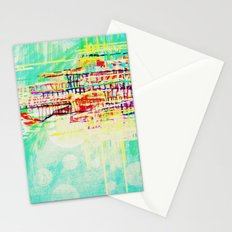 futuristic world in turquoise Stationery Cards