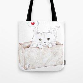Cat Heart Box Tote Bag