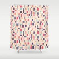 grid Shower Curtains featuring grid by Marta Olga Klara