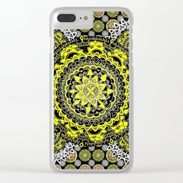 Silver, Gold, and Black Patterned Mandalas Clear iPhone Case