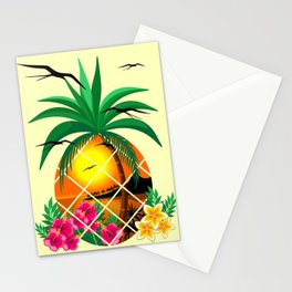 Pineapple Tropical Sunset, Palm Tree and Flowers Stationery Cards