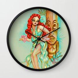 Redhead Hula Girl with Tiki Wall Clock