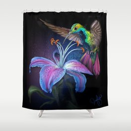 The Stargazer and The Hummingbird Shower Curtain
