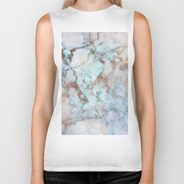 Rose Marble with Rose Gold Veins and Blue-Green Tones Biker Tank