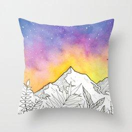 Mountain Through the Jungle Throw Pillow