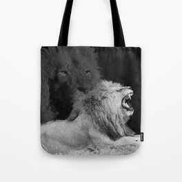 Lion Black and White  Mixed Media Digital Art Tote Bag