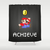 mario bros Shower Curtains featuring Mario by eARTh