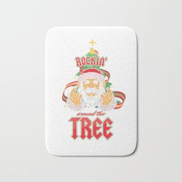 Rockin' Around The Tree Christmas Season Santa Xmas Winter Reindeer Sleigh Gift Bath Mat