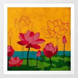 Flowers: lotus Art Print