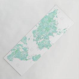 "Light mint watercolor world map, detailed, ""Desie"" Yoga Mat"