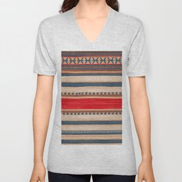 N66 - Classic Oriental Moroccan Style Fabric. Unisex V-Neck