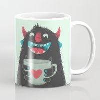 coffee Mugs featuring Demon with a cup of coffee by Lime