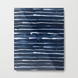 Electric Ink Indigo Navy Stripes Metal Print