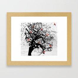 Red Birds in Snow by GEN Z Framed Art Print