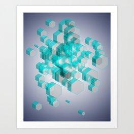 3D Hexagon Background X.2 Art Print