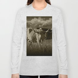 Sepia Tone of Texas Longhorn Steers under a Cloudy Sky Long Sleeve T-shirt