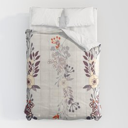 Trailing Line Art Flowers Comforters