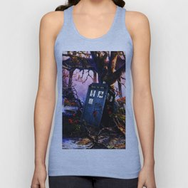 Tardis And Red Flowers Unisex Tank Top