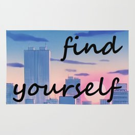 FIND YOURSELF ANIME CITYSCAPE ART Rug