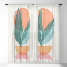 Nature Stack II / Abstract Shapes Illustration Sheer Curtain