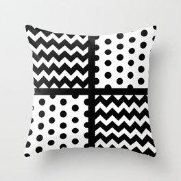 Black/White Chevron/Polka Dot w/ Black Lines Throw Pillow