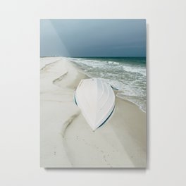 Little White Boat on the Beach Metal Print