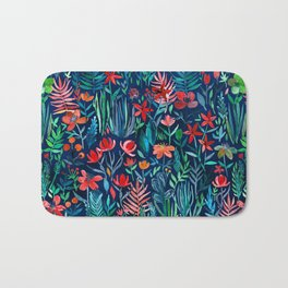 Tropical Ink - a watercolor garden Bath Mat