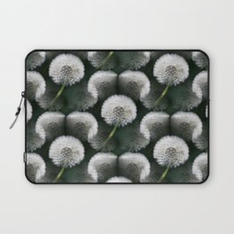 White Dandelion Blowballs Black Background #decor #society6 #buyart Laptop Sleeve