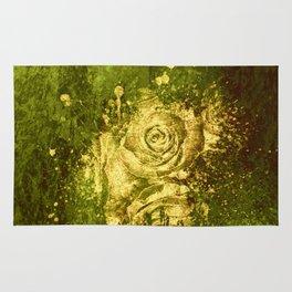 golden rose on green Rug
