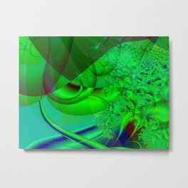 Abstract Green Algae Metal Print