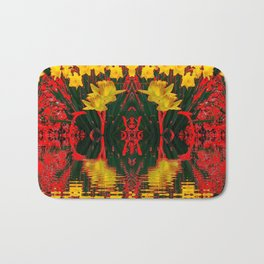 MODERN GARDEN DECORATIVE RED YELLOW DAFFODILS Bath Mat