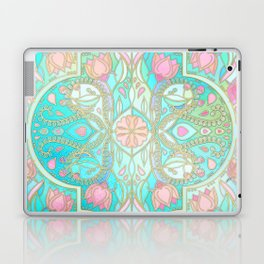 Floral Moroccan in Spring Pastels - Aqua, Pink, Mint & Peach Laptop & iPad Skin