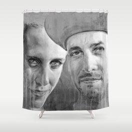 WARNER DRIVE portraits - black Shower Curtain
