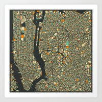 new york map Art Prints featuring NEW YORK MAP by Jazzberry Blue