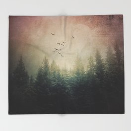 The Forest's Voice - surreal forest photo, Nature Photography, Ethereal Atomspheric Dreamy Throw Blanket