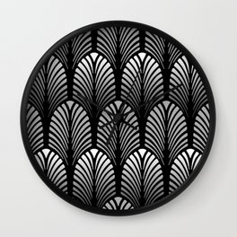 Art Deco Feather Pattern, Silver Gray and Black Wall Clock