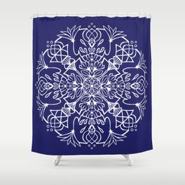 Lotus Mandala - White on Navy Shower Curtain