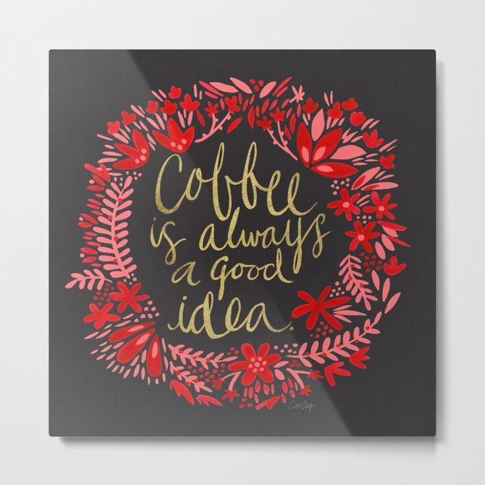 Coffee on Charcoal Metal Print