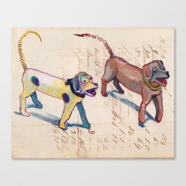 Vintage Metal Dogs with Spring Tails in Mixed Media Canvas Print