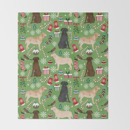Labrador retrievers christmas festive holiday gifts for dog lover in your life dog breeds custom art Throw Blanket