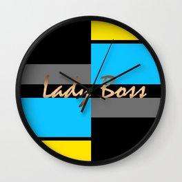 Lady Boss , turquoise ,lemon Wall Clock