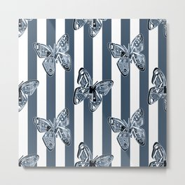Blue butterflies on a striped background . Metal Print