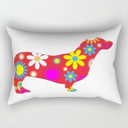 Dachshund Dog Funky Floral Retro Fun Rectangular Pillow
