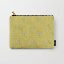 Simply Deconstructed Chevron Retro Gray on Mod Yellow Carry-All Pouch