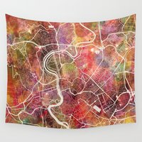 rome Wall Tapestries featuring Rome by MapMapMaps.Watercolors