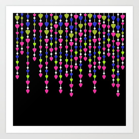 Pearl beads and hearts .2 Art Print