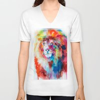lion V-neck T-shirts featuring Lion by Slaveika Aladjova